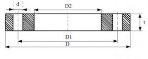 Чертеж и размеры плоский прижимной фланец под ПНД втулку на 10 атм