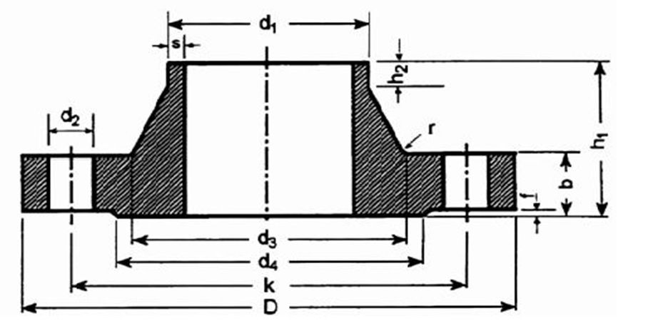Чертёж и размеры фланца плоского по DIN 2633 0,6 МПа (6 кг/см2)