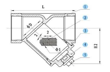 Фильтр косой из нержавеющей стали У-образный - схема