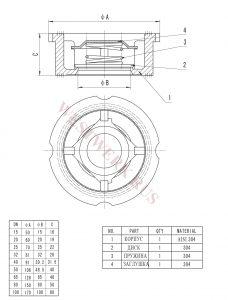 Дисковый межфланцевый обратный клапан нержавеющий - схема