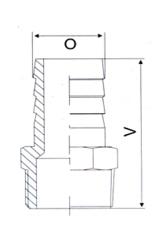 Штуцер шланговый с наружной резьбой - схема