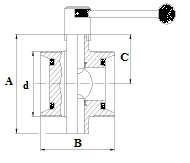 дисковый затвор под резьбу - чертеж